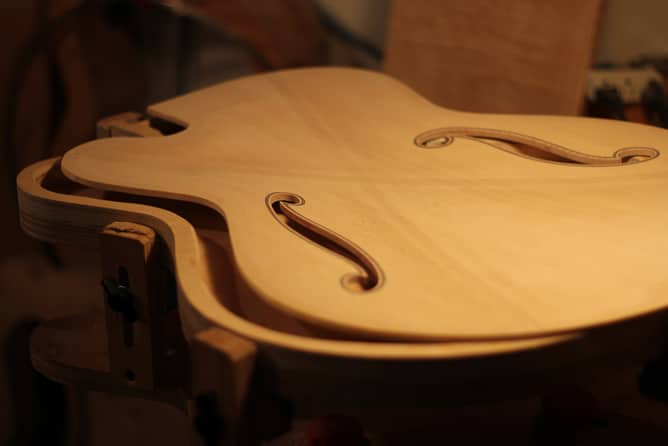 Inside of archtop guitar top