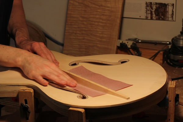 Sanding to fit guitar braces