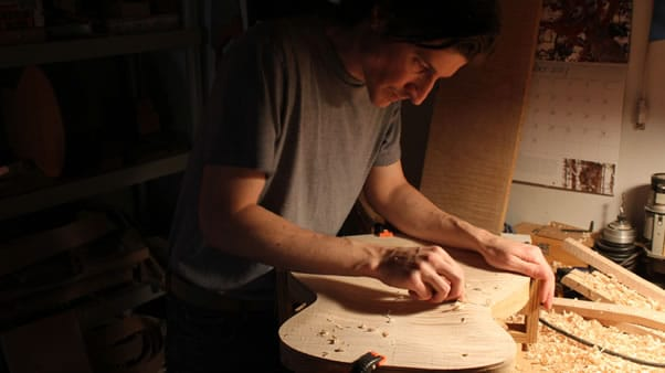 Carving an archtop guitar carving inside