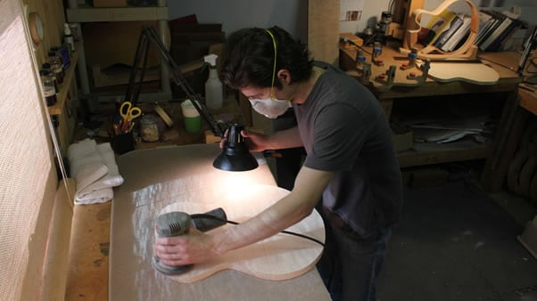 Carving an archtop guitar sanding