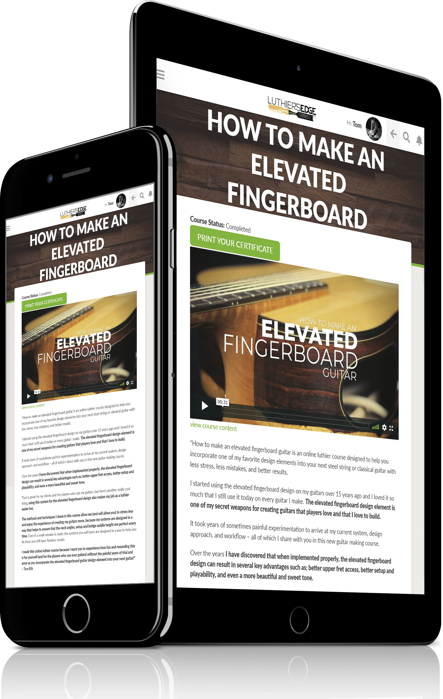 elevated fingerboard guitar making course examples